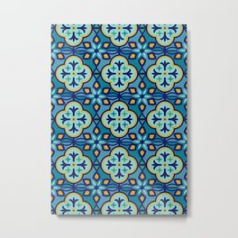 Moroccan Tiles in Blue Hues Metal Print