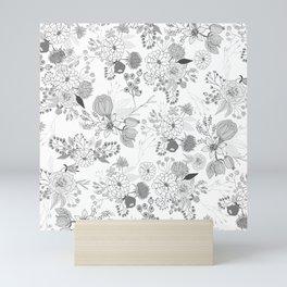 Modern elegant black white rustic floral illustration Mini Art Print