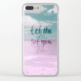 Let the Sea set you Free - Pink Summer Beach Sea Ocean Nature Clear iPhone Case