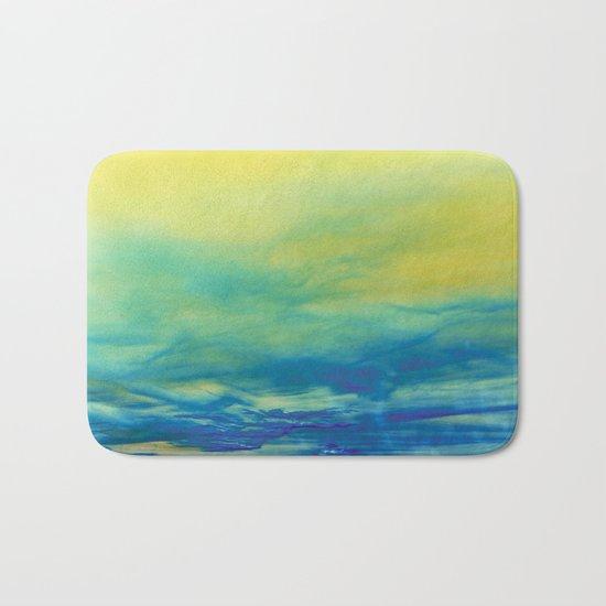 YELLOW & BLUE TOUCHING #1 #abstract #art #society6 Bath Mat