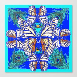 TURQUOISE & CREAM COLORED BUTTERFLIES  BLUE PEACOCK ART Canvas Print