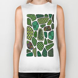 Patterned green stone floor Biker Tank