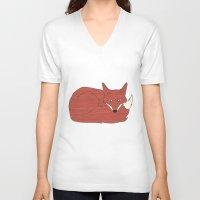 mr fox V-neck T-shirts featuring Mr. Fox by Elephant Trunk Studio
