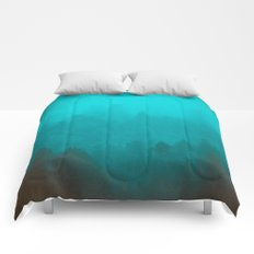 Teal Fog Forest - Foggy Redwood Trees in California Comforters