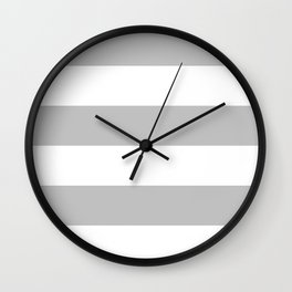 Wide Horizontal Stripes - White and Silver Gray Wall Clock