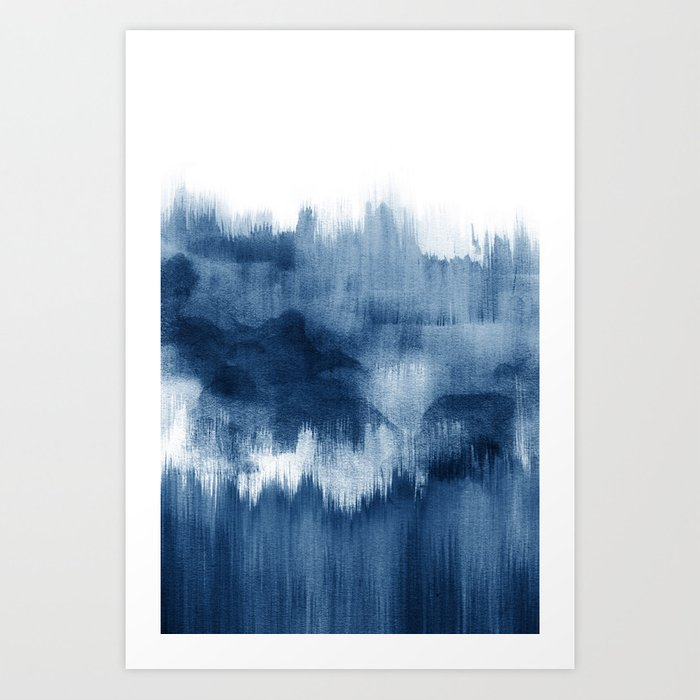 Art Print   Blue Watercolor Brush Strokes by Nouveauprints - X-Small - Society6