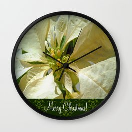 Pale Yellow Poinsettia 1 Merry Christmas S6F1 Wall Clock