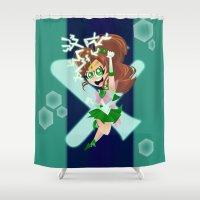 sailor jupiter Shower Curtains featuring Sailor Jupiter by The Art of Eileen Marie