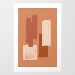 Burnt Orange Art, Terracotta Abstract Shapes Art Print