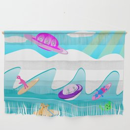 Aliens Go Surfing Wall Hanging