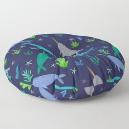 Watercolor Narwhals Blue Gold Sea Pattern Floor Pillow