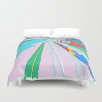 montreal Duvet Covers featuring Montreal Trainyard by Jonah Grindler