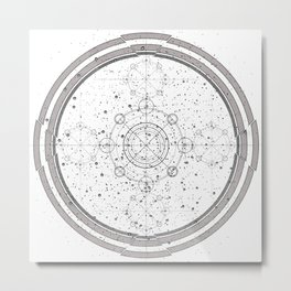 Black and white sacred geometry, Sci fi, Mechanical art Metal Print