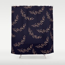 Gold Leaves and Navy Shower Curtain