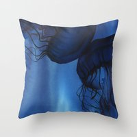 jellyfish Throw Pillows featuring Jellyfish by Dana Martin