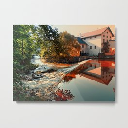 The river, a country house and reflections | waterscape photography Metal Print