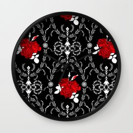Retro . Red roses on black Wall Clock