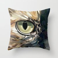 stevie nicks Throw Pillows featuring Stevie Cat by Kelli Holtman