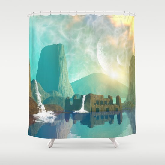Fantasy landscape shower curtain by nicky2342 society6 for Fantasy shower curtains