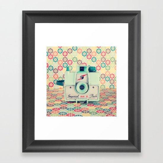 Film Mint Camera on a Colourful Retro Background  Framed Art Print