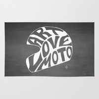 moto Area & Throw Rugs featuring Art Love Moto Helmet by Kris Petrat Design