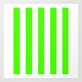 Chlorophyll green - solid color - white vertical lines pattern Art Print