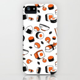 Kawaii Sushi Pattern iPhone Case
