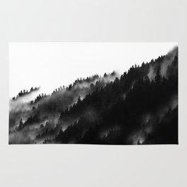 Black and White Fog Forrest Rug