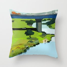 Man standing by river Throw Pillow