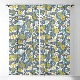 Koi Pond - Green Sheer Curtain