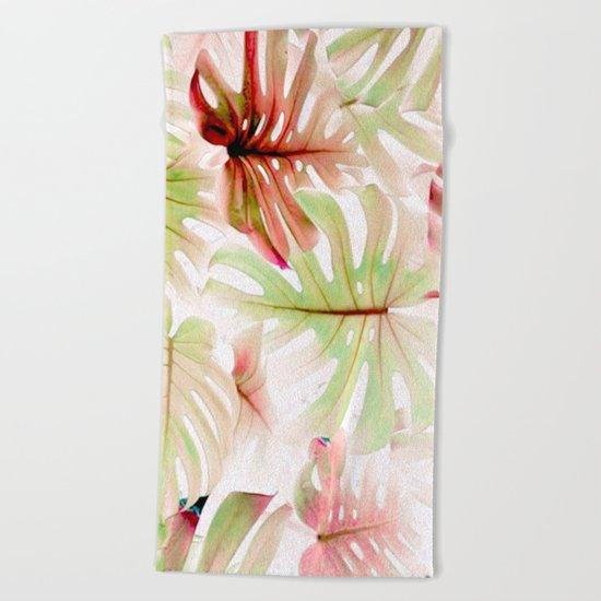 Monstera Pastel  Beach Towel
