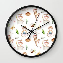 Tropical pink brown green watercolor monkey coconut floral Wall Clock