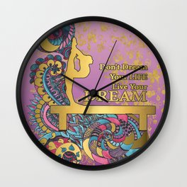 Gymnastics- Live your Dream- In Purple Gradient and Gold Watercolor Doodle Design Wall Clock