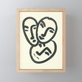 Henri matisse facial portrait abstract art 3 faces, different expressions, contemporary minimal line drawing Framed Mini Art Print