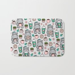 Hippo Friends, Little Hippo, Grey and Pink, Pink and Green, Donuts and Coffee, Cute Hippopotamus Bath Mat