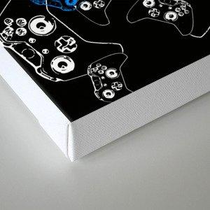 Video Game Blue on Black Canvas Print