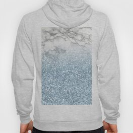 She Sparkles - Turquoise Teal Glitter Marble Hoody