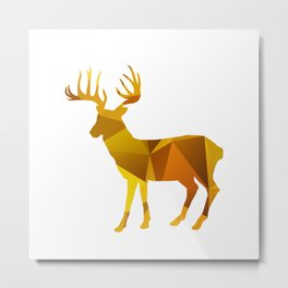 Deer - Gold Geomatric Metal Print