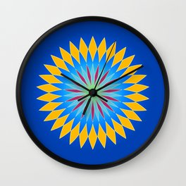Colorful abstract star on dark blue background Wall Clock