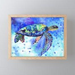 Sea Turtle, Underwater Scene Framed Mini Art Print