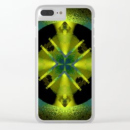 Spinning Wheel Hubcap in Lime Green Clear iPhone Case