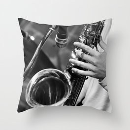 Jazz and Saxophone Throw Pillow