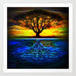Duality Tree of Life Reflection Moon & Sun Day & Night Painting by CAP Art Print