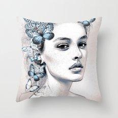 Woman with butterflies 2 Throw Pillow