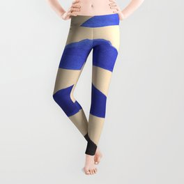 Colorful Blue Geometric Triangle Pattern With Black Accent Leggings