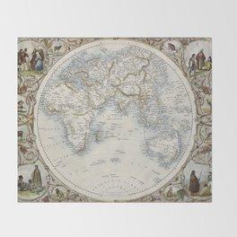 Eastern Hemisphere of the World 1851 Throw Blanket