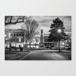 Small Town America Skyline - Downtown Bentonville Square  - Black and White Canvas Print