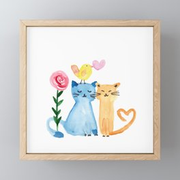 Water painting - cats, bird, heart and rose Framed Mini Art Print