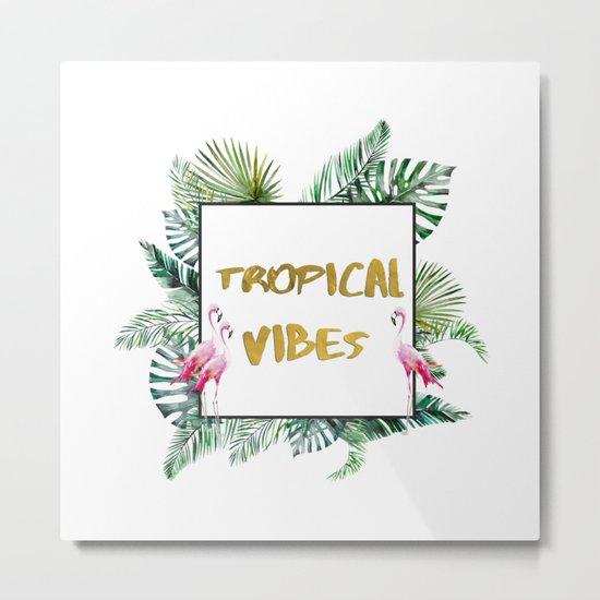 Aloha - Tropical Vibes Typography with Palm Leaves and Flamingo Metal Print