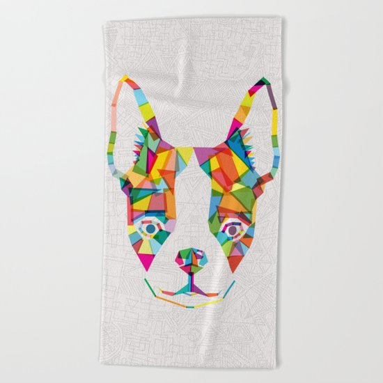 Rainbow Bulldog Beach Towel